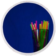Crystal Glass And Plastic Straw 20140812-10a Round Beach Towel