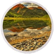 Crystal Lake Reflections Round Beach Towel