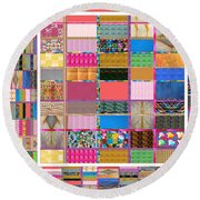 Crystal Stone Collage Layered In Small And Medium Sizes Variety Of Shades And Tones From Reiki Heali Round Beach Towel