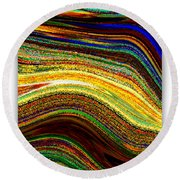Crystal Waves Abstract 2 Round Beach Towel