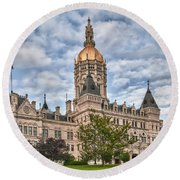Ct State Capitol Building Round Beach Towel