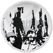 Cuban Revolution Painted On A Wall Round Beach Towel