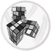 Cubed - Shades Of Grey Round Beach Towel