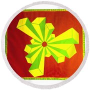 Cubism In Wheat-shire Round Beach Towel