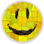 Cubism Smiley Face Round Beach Towel
