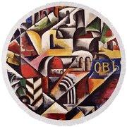 Cubist Cityscape, 1914 Round Beach Towel