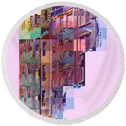 Colorful Old Buildings Of New York City - Pop-art Style Round Beach Towel