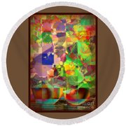 Flowers In Round Bowls - Outdoor Markets Of New York City Round Beach Towel