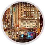 Grand Central And 42nd St Round Beach Towel