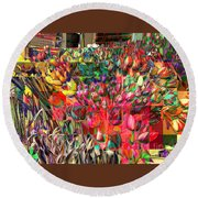 Tulips Of Many Colors - Nyc Markets Round Beach Towel