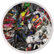 Cubist Photographic Composition Of Totem Poles Round Beach Towel