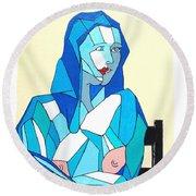 Cubistic Blue Lady Round Beach Towel