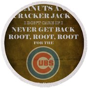 Cubs Peanuts And Cracker Jack  Round Beach Towel