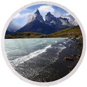 Cuernos Del Paine Patagonia 3 Round Beach Towel