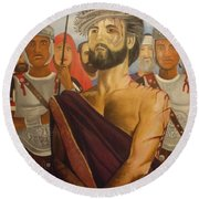 Cuiseufiction Of Christ  Round Beach Towel