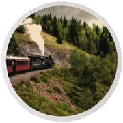 Cumbres And Toltec Train Co And Hm Round Beach Towel