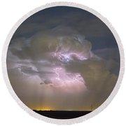 Cumulonimbus Cloud Explosion Portrait Round Beach Towel