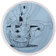 Cup Cake - Doodle Round Beach Towel