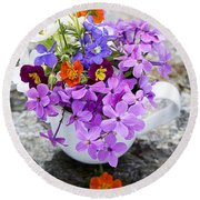Cup Full Of Wildflowers Round Beach Towel by Edward Fielding