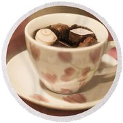 Cup Of Chocolate Round Beach Towel