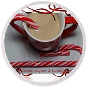 Cup Of Christmas Cheer - Candy Cane - Candy - Irish Cream Liquor Round Beach Towel