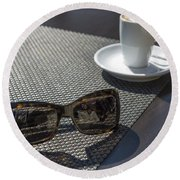 Cup Of Coffee And Sunglasses Round Beach Towel