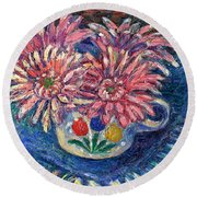 Cup Of Flowers Round Beach Towel
