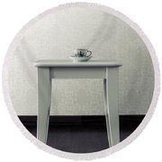 Cup On Stool Round Beach Towel