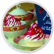 Cupcakes And Tea Je Suis Au Jardin Coffee Shop City Scene Cafe Montreal Food  Art Carole Spandau Round Beach Towel