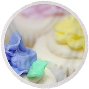Cupcakes Shallow Depth Of Field Round Beach Towel