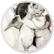 Cupid And Psyche By William Bouguereau Round Beach Towel