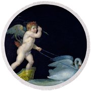 Cupid Being Led By A Pair Of Swans Round Beach Towel