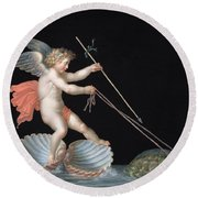 Cupid Being Led By Tortoises Round Beach Towel