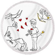 Cupid Valentines Round Beach Towel