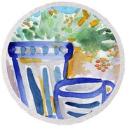 Cups And Flowers-  Watercolor Floral Painting Round Beach Towel by Linda Woods