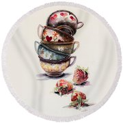 Cups And Strawberries Round Beach Towel