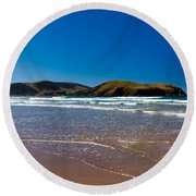 Curio Bay On South Coast Of New Zealand South Island Round Beach Towel