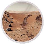 Curiosity Tracks Under The Sun In Mars Round Beach Towel