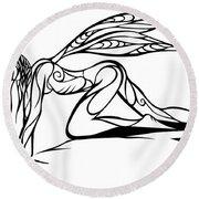 Curious Fairy 1 Round Beach Towel