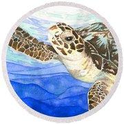 Curious Sea Turtle Round Beach Towel