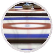 Curling Rocks On Ice Round Beach Towel