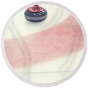 Curling Stone In A Distance Round Beach Towel