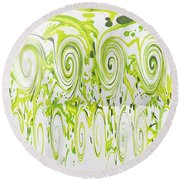Curly Greens Round Beach Towel