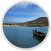 Curragh Moored At Dooega Village Round Beach Towel