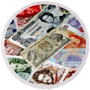 Currencies Round Beach Towel