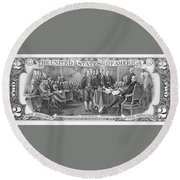 Currency: Two Dollar Bill Round Beach Towel