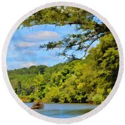 Current River Mo - Digital Paint Round Beach Towel