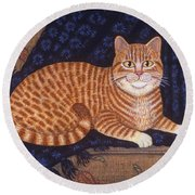 Curry The Cat Round Beach Towel by Linda Mears