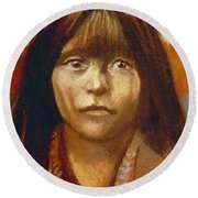 Curtis Indian Girl Round Beach Towel