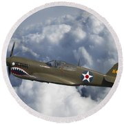 Curtiss P-40 Warhawk Flying Tigers Round Beach Towel